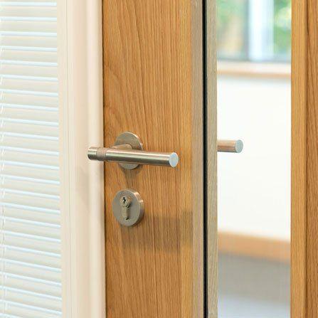 wooden door with lock
