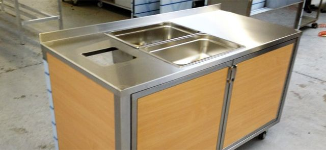 steel and wood kitchen serving unit