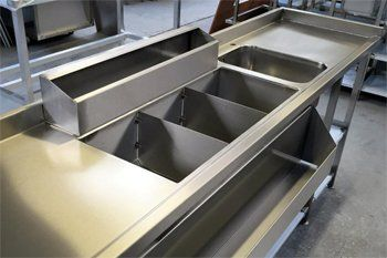 stainless steel unit with hot trays