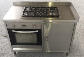 Large stainless steel hob and oven