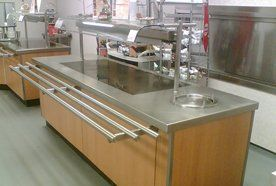 Stainless steel and wood effect serving counter