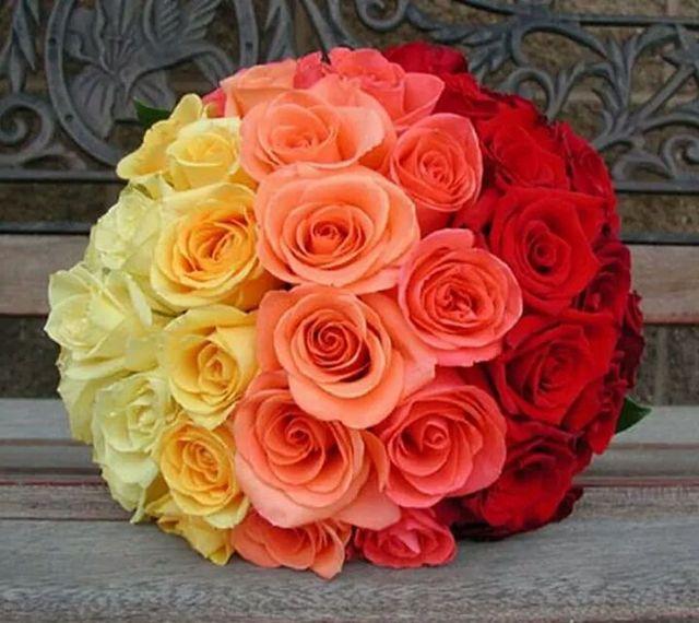 mazzo di rose multicolore