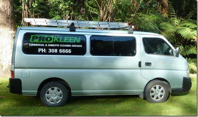 Domestic cleaning company's van in the Eastern Bay of Plenty