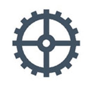 Spoke and wheel gear icon