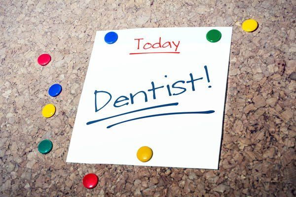 dentist appointment reminder for today on pin board