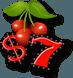 Icona ciliegia, simbolo del dollaro e un 7