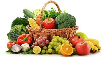 a basket of fruit and vegetables