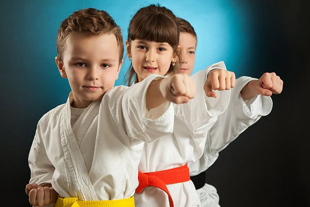 kids practicing karate routine