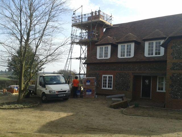 Scaffolding around a chimney