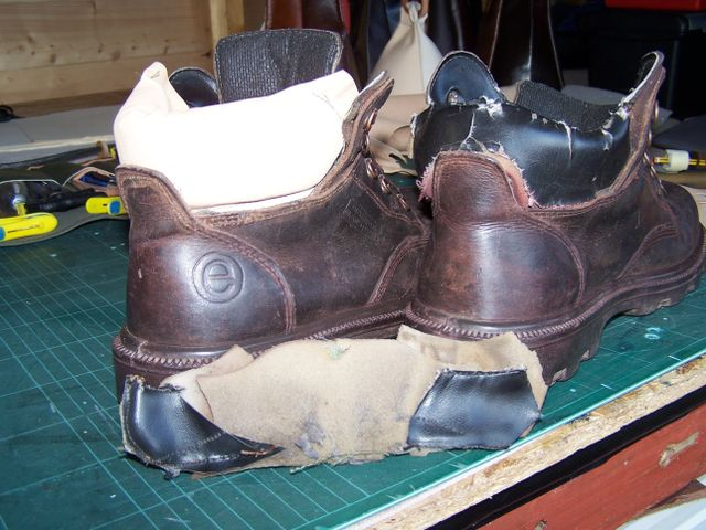 Leather boots ready for repair