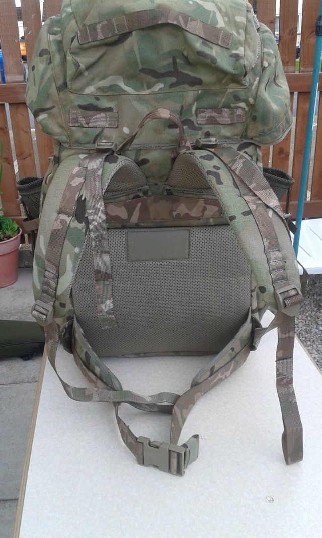 Rear view of a military rucksack