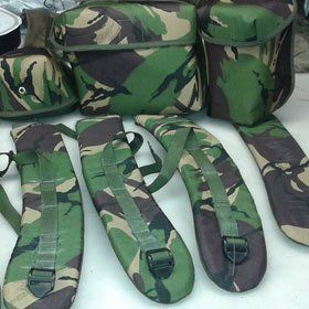 Bag and straps in camouflage pattern fabric