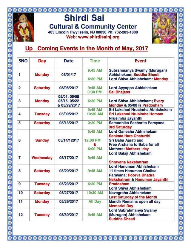 May 2017 Programs