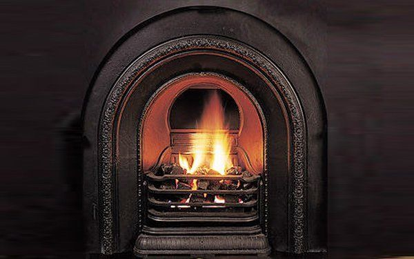gas flame built in fireplace