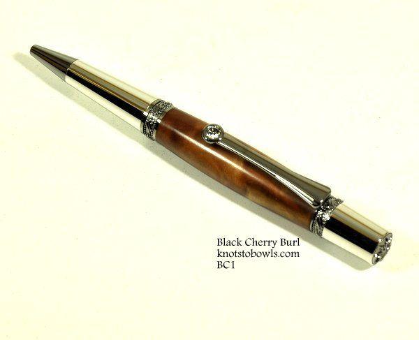 Black Cherry Burl Twist Pen with crystal clip.