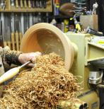 hollowing out a custom wood bowl