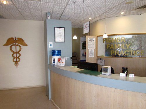 View of the reception desk at Fisher Family Practice