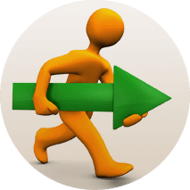 icon of a man walking with a green arrow