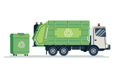 camion verde trasporto rifiuti