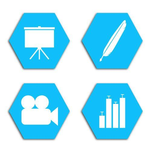 Illustration, animation, presentation, and data vector graphics symbols by Simplified Science Publishing.