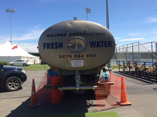 Fresh water tanker parked at the site