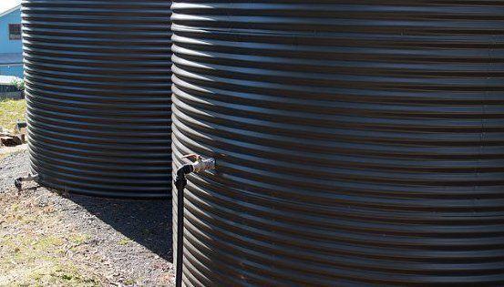 two rainwater tanks