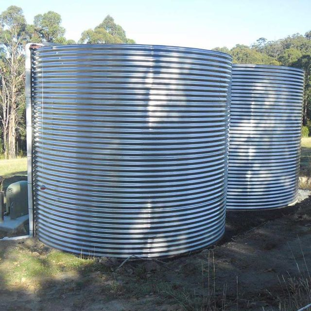 two stainless steel tanks