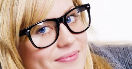 View of women wearing trendy glasses