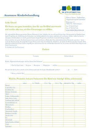 Zahnarzt VS-Schwenningen Anamnesebogen Kinderbehandlung