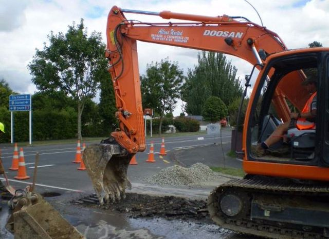 View of the machine being used for earthworks