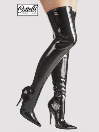stivali lunghi di lattice con tacchi