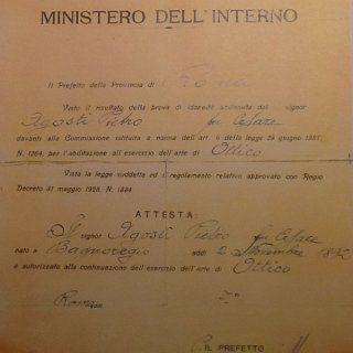 un foglio del ministero Dell'interno che certifica la continuazione dell'esercizio