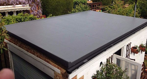 Flat roofing on a garage