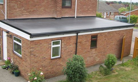 A flat roof on an extension
