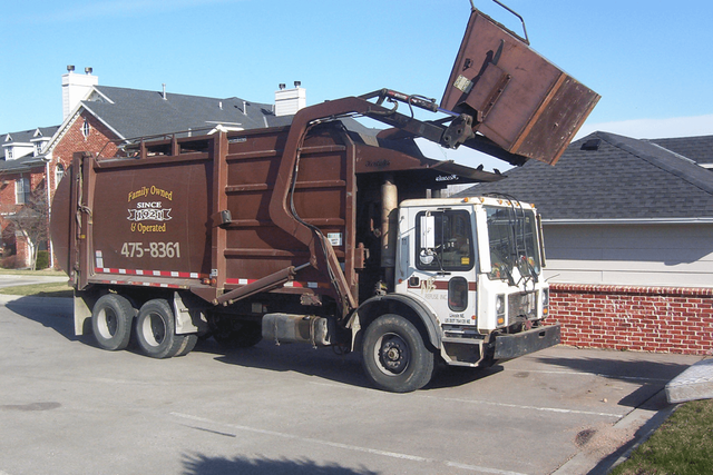 Waste and recycle truck ready for recycling services in Lincoln, NE