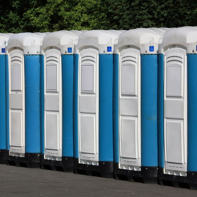 A row of portable toilets