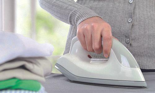 a lady ironing
