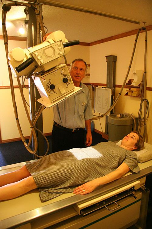 A patient having a scan