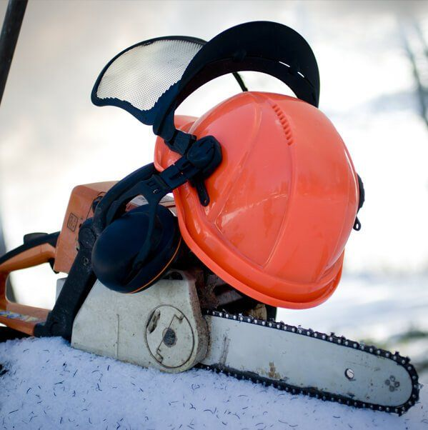 chainsaw and hard hat
