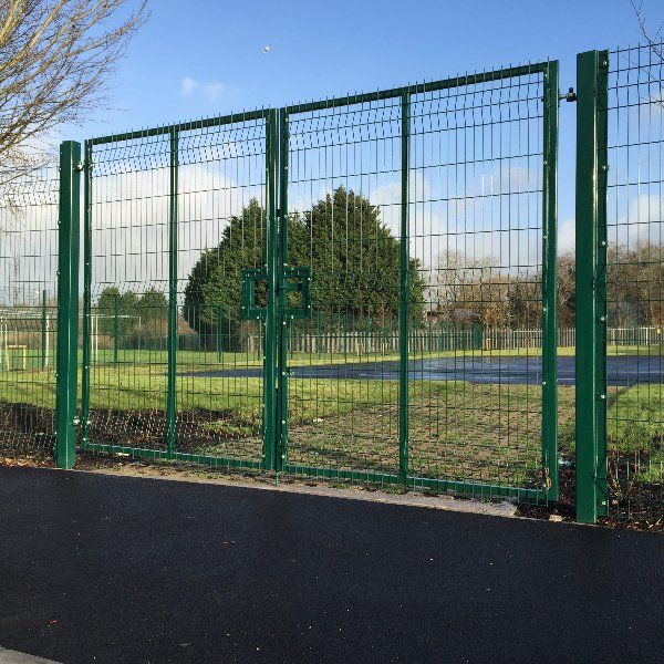 Steel fencing around a school playground