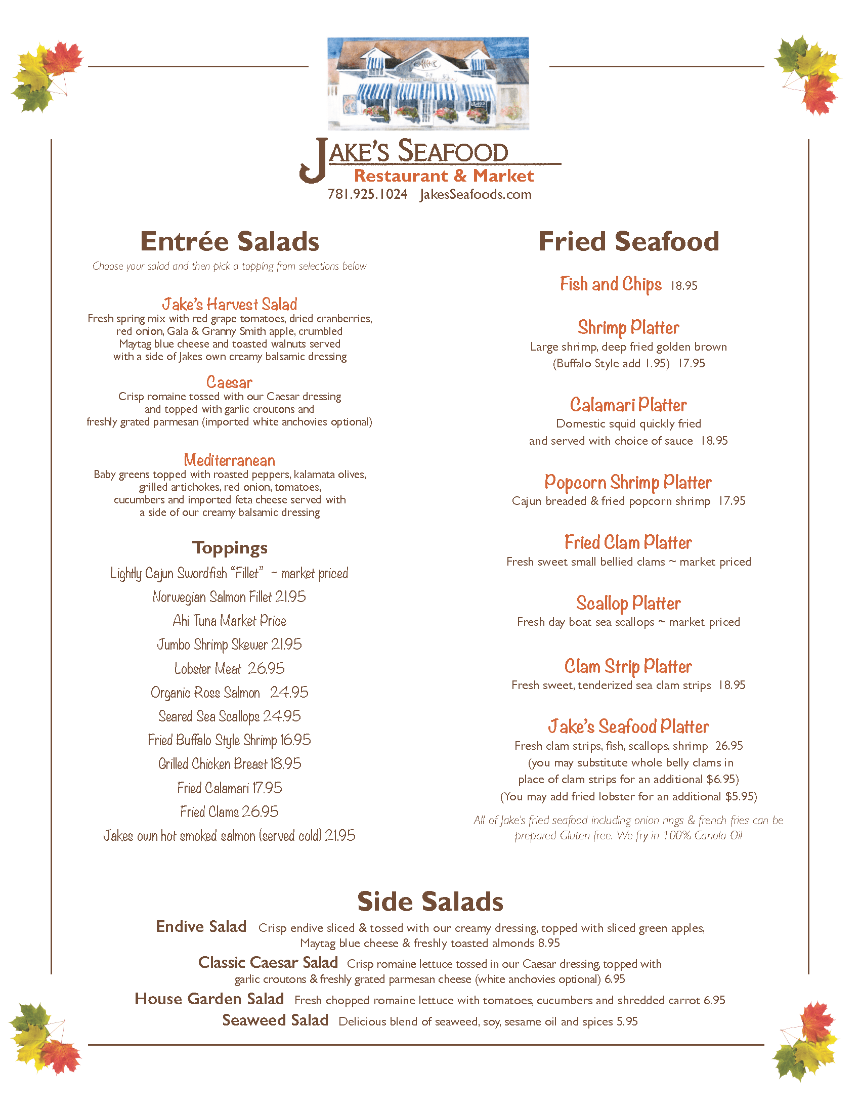 graphic regarding Red Lobster Printable Menu called Jakes Seafood Cafe and Fish Market place at Nantasket Seashore