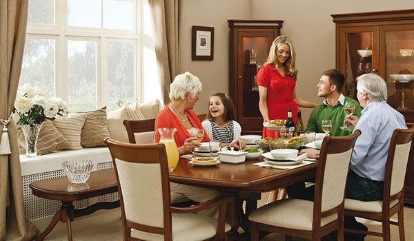happy family at dining table