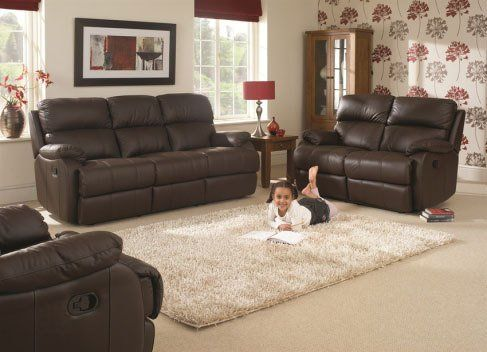 living room with dark brown upholstery