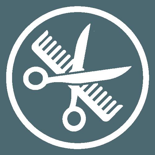Icona di un pettine e una forbice
