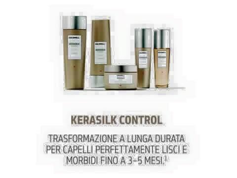 Prodotti cosmetici di color beige e scritta Kerasilk control su uno sfondo bianco