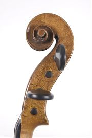 Scroll of old English violin by Charles Samuel Thompson