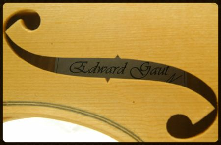 Label through new violin F hole