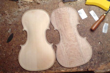 arched violin front and back