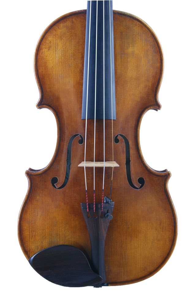 Front of G B Rogeri 1704 model violin by Edward Gaut 2017