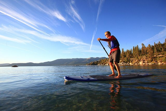 stan up paddle board SUP rentals at Holloway's Marina and RV Park of North Shore Landing in Big Bear Lake